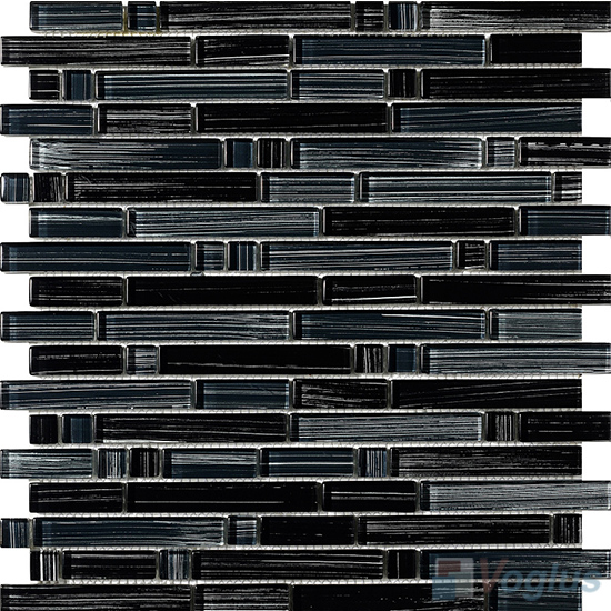 Black Liner Hand Painted Glass Mosaic Tile VG-HPP97