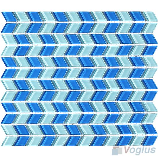 Blue Mixed Diamond Shaped Wavy Glass Mosaic Tiles VG-UDM98