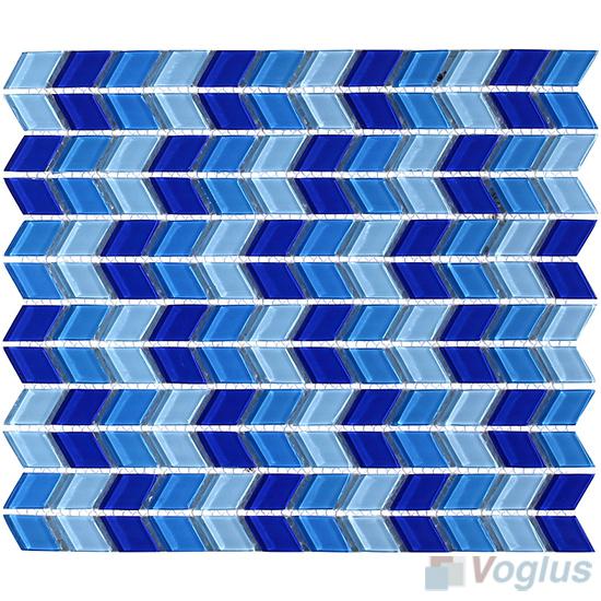 Blue Mixed Diamond Shaped Wavy Glass Mosaic VG-UDM95