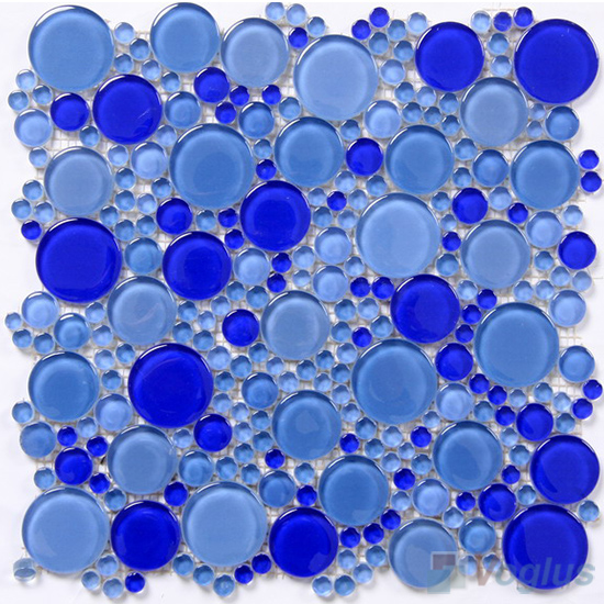 Blue Mixed Pebble Bubble Glass Mosaic Tiles Vg Upb86
