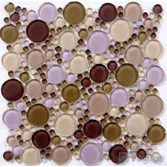 Brown Mixed Pebble Bubble Glass Mosaic Tiles VG-UPB85