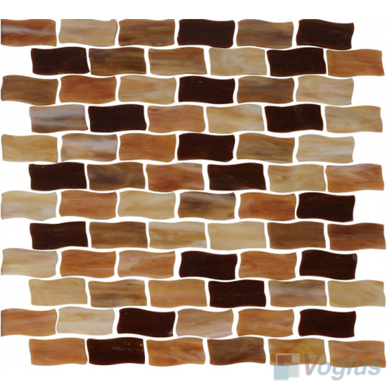 Brown Mixed Wavy Brick Wavy Brick Tiffany Glass Mosaic Tile VG-TF86