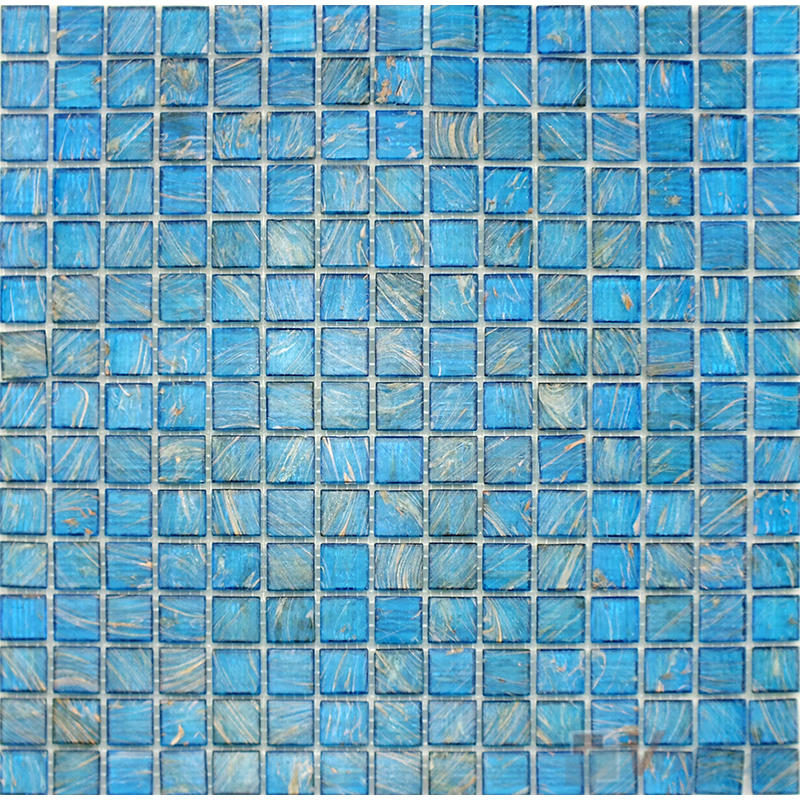 Carolina Blue 20x20mm Gold Line Glass Mosaic VG-GLS98