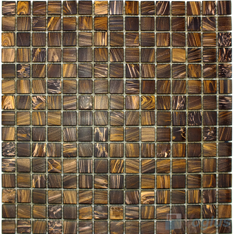 Copper 20x20mm Gold Star Glass Mosaic Tile VG-GLS90