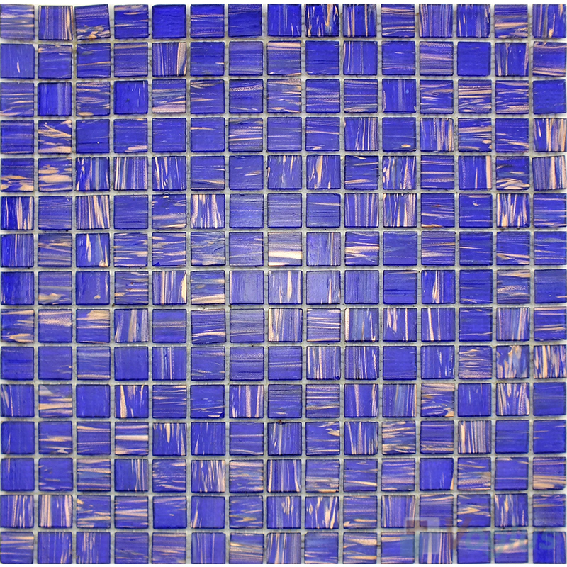 Dark Blue 20x20mm Gold Line Glass Mosaic VG-GLS97