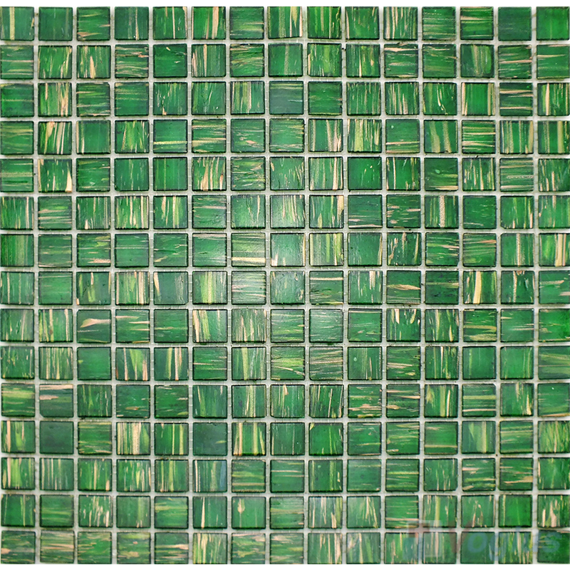 Dark Green 20x20mm Gold Line Glass Mosaic VG-GLS95