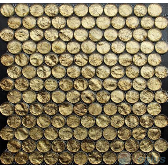 Gold Foiled Circle Round Shaped Glass Mosaic Tiles VG-URD86