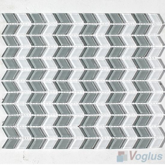 Gray Diamond Shaped Wavy Glass Mosaic VG-UDM93