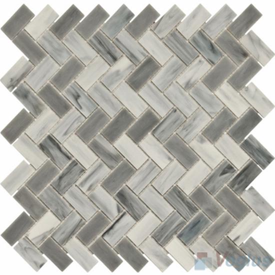 Gray Herringbone Tiffany Glass Mosaic VG-TF95