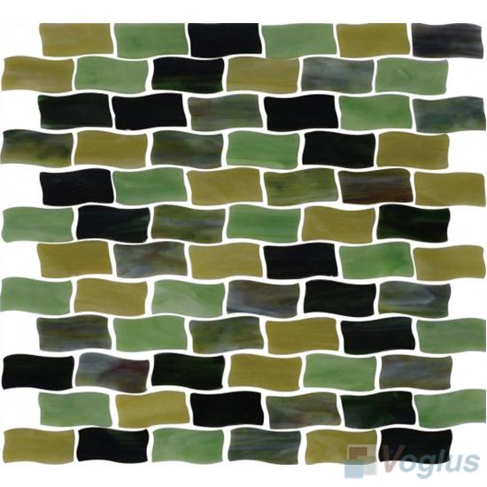 Green Mixed Wavy Brick Tiffany Glass Mosaic VG-TF87