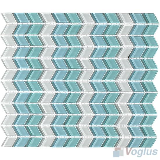 Light Blue Diamond Shaped Wavy Glass Mosaic Tiles VG-UDM97