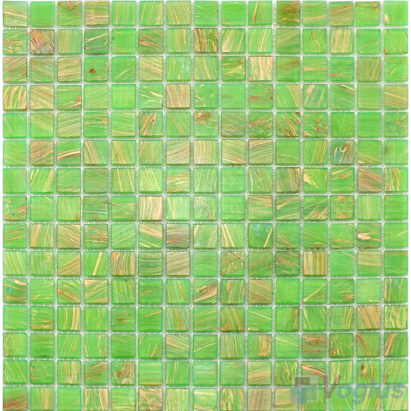 Lime Green 20x20mm Gold Line Glass Mosaic VG-GLS96