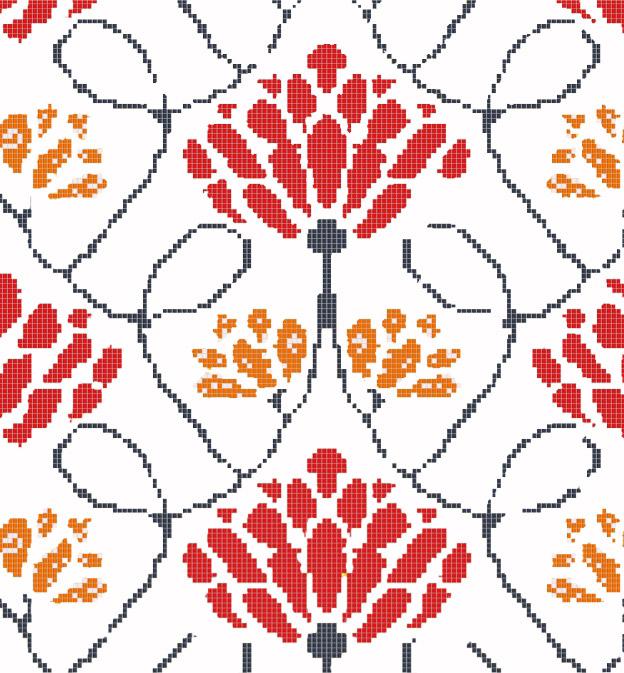 Mosaic Mural Flower Art Pattern VG-PAF86