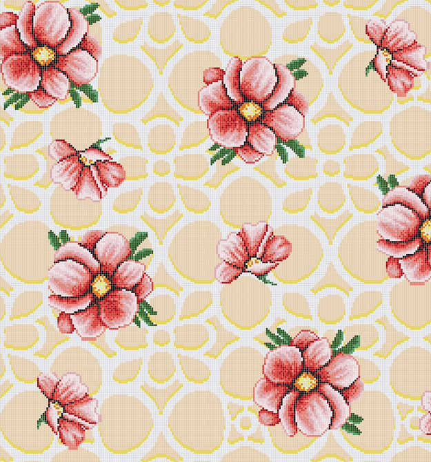 Mosaic Mural Flower Art Pattern VG-PAF89