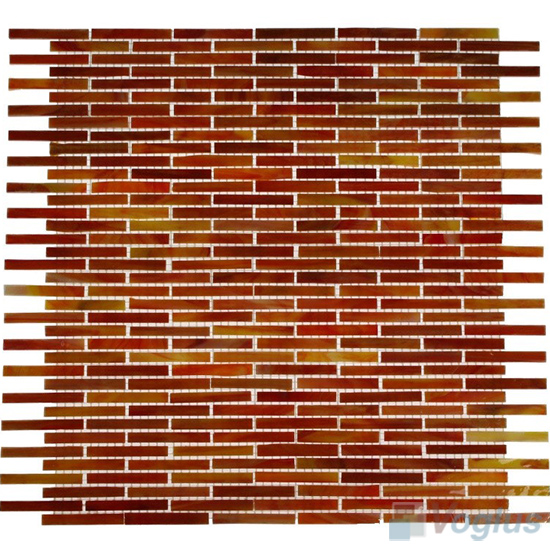 Orange Matrix Tiffany Glass Mosaic Tile VG-TF89