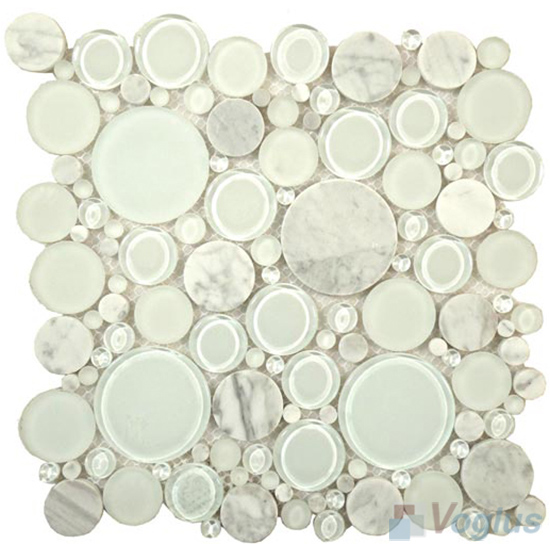 Pearl pebble bubble glass mosaic tiles vg upb82 voglus mosaic