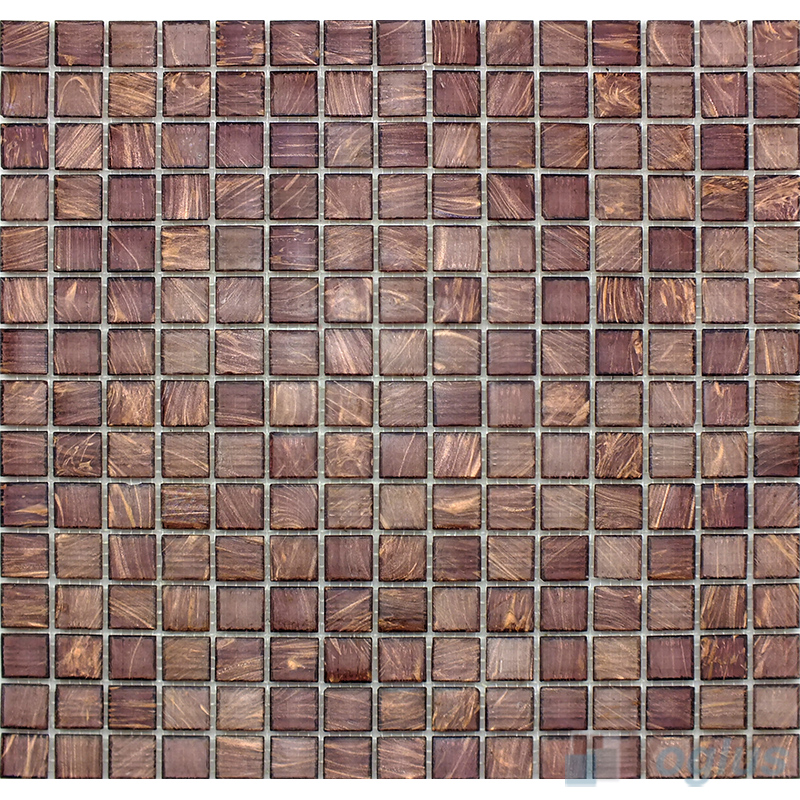 Plum 20x20mm Gold Line Glass Mosaic Tile VG-GLS93