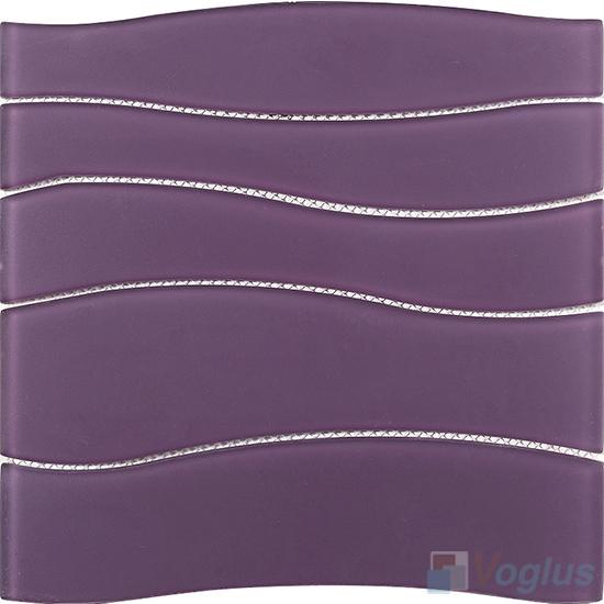 Purple Wavy Waterjet Glass Tile VG-UWJ85
