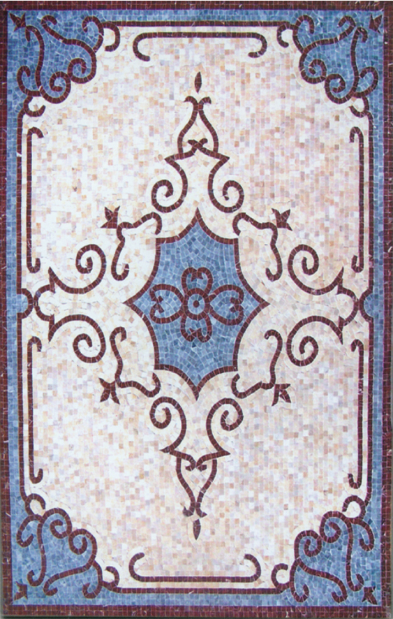 Rectangle Marble Mosaic Floor Rug VS-AFR99
