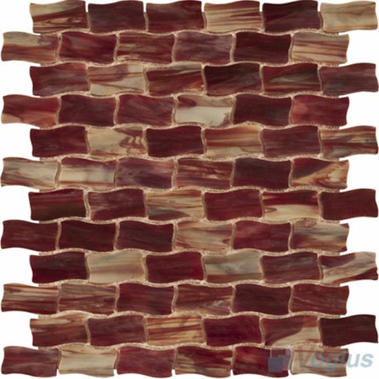 Rosewood Wavy Brick Tiffany Glass Mosaic VG-TF97