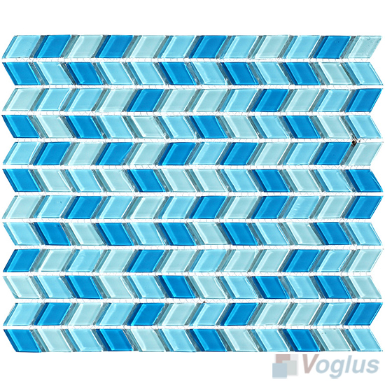 Sky Blue Diamond Shaped Wavy Glass Mosaic VG-UDM96