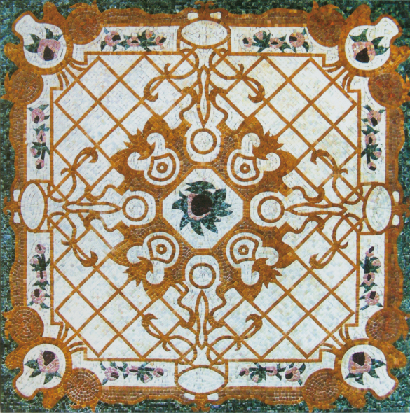 Square Marble Mosaic Floor Rug VS-AFR90