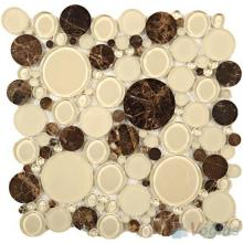 Beige Pebble Bubble Glass Mosaic Tiles VG-UPB83