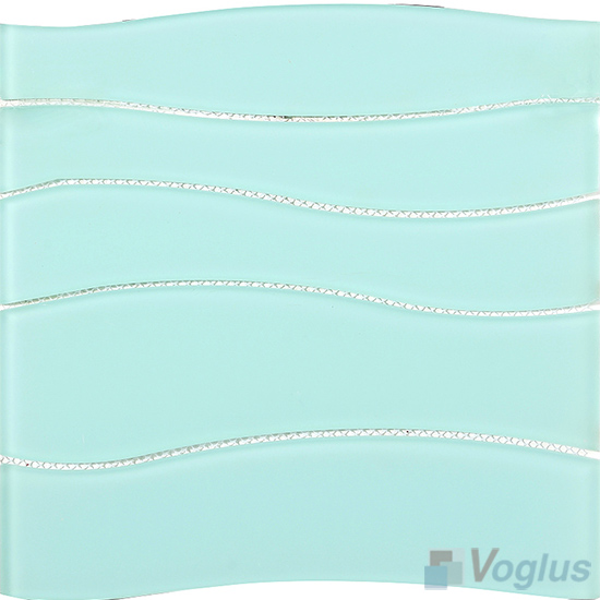 Turquoise Wavy Waterjet Glass Tile VG-UWJ87