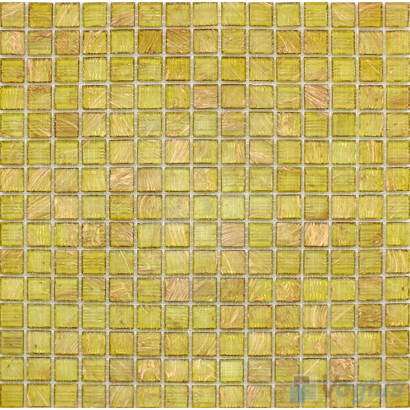 Vanilla 20x20mm Gold Line Glass Mosaic Tile VG-GLS92