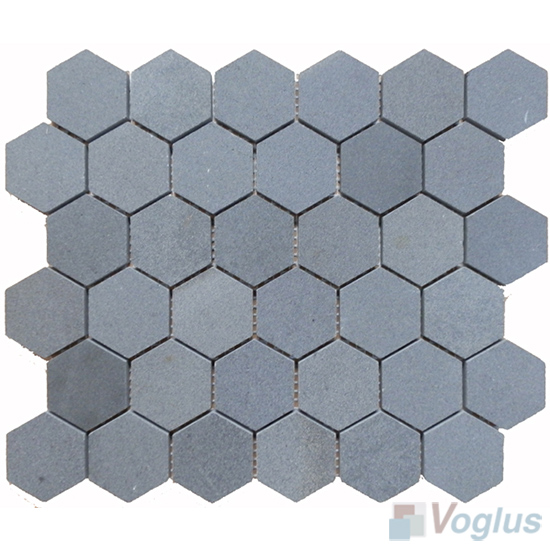 2 inch Meddium Hexagon Basalt Stone Mosaic VS-BS98