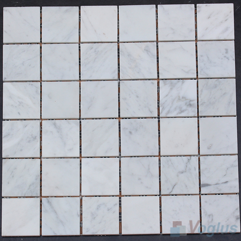 2x2 inch Polished Carrara White Marble Mosaic VS-SEA89
