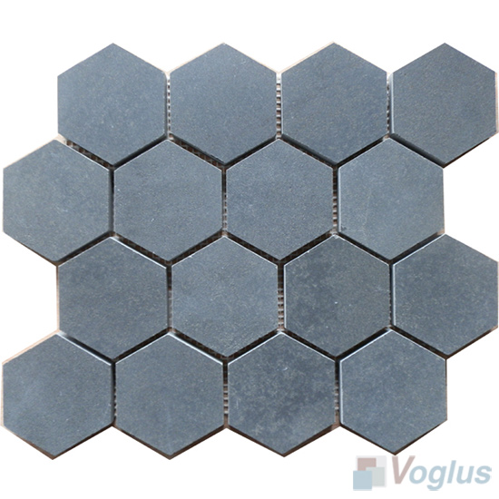 3 inch Large Hexagon Basalt Stone Mosaic VS-BS99