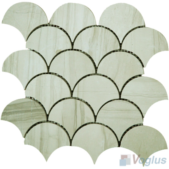 Beige Polished Fish Scale Fan Shaped Marble Mosaic VS-PFN92