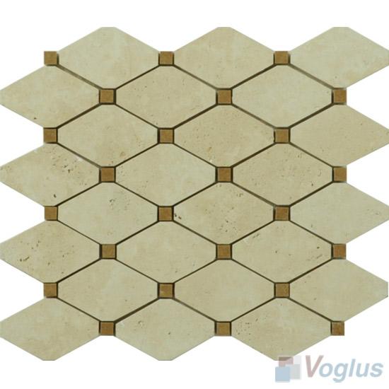 Beige Travertine Polished Elongated Shaped Marble Mosaic Tiles VS-PTG85