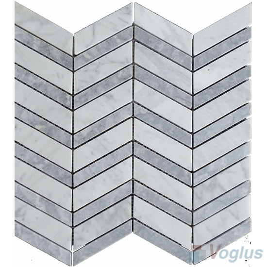 Bianco Carrara Polished Herringbone Marble Mosaic VS-PHB95
