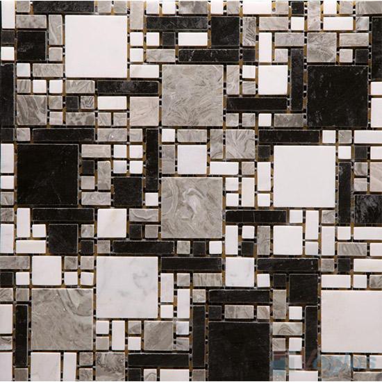 Black Gray Polished Miscellaneous Marble Mosaic VS-PMG95