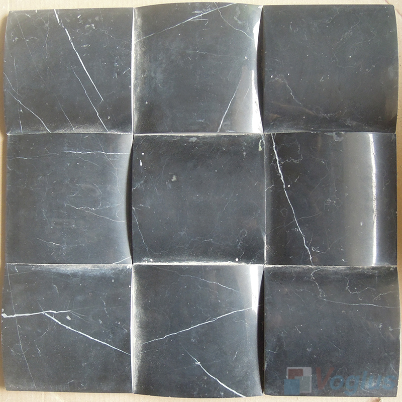 Black Marquina Large Camber Bread 3D Stone Mosaic VS-PCB86