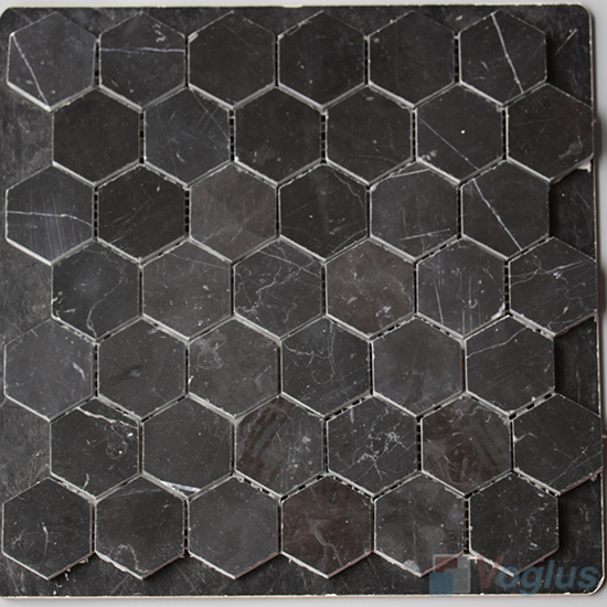 Black Marquina Polished 2 inch Hexagon Marble Mosaic VS-MBM99