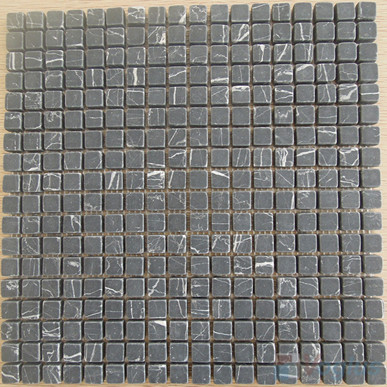 Black Marquina Tumbled 15x15mm Marble Mosaic VS-MBM98