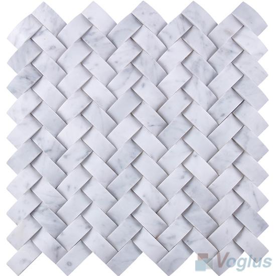 Carrara White Braided Pattern Marble Mosaic VS-PBD99