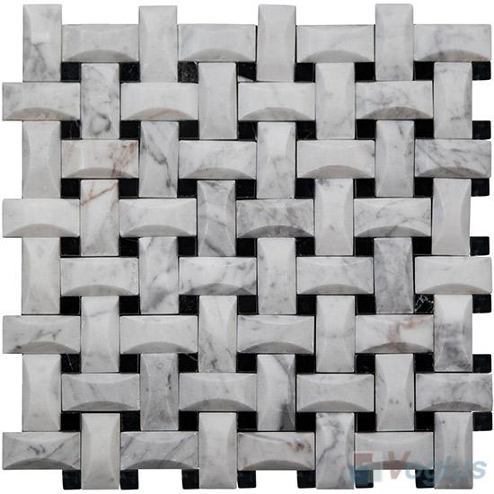 Carrara White Camber Basket Weave Marble Mosaic VS-PBW87