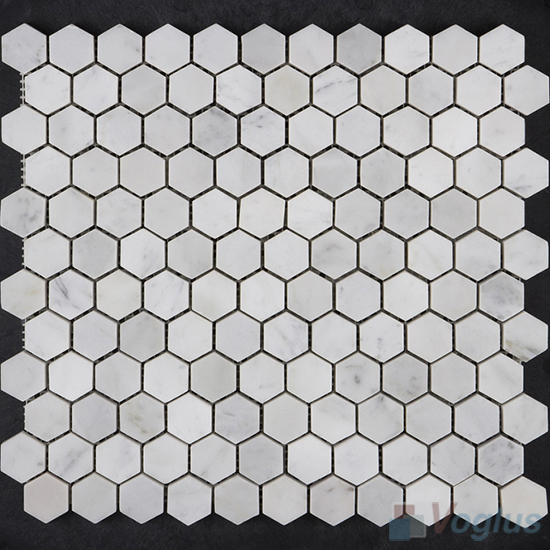 Carrara White Polished 1 inch Small Hexagon Marble Mosaic VS-MCW94