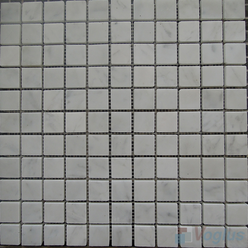 Carrara White Polished 1x1 inch Marble Mosaic VS-MCW89