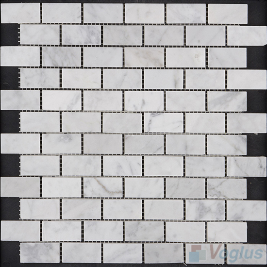 Carrara White Polished 1x2 inch Medium Brick Marble Mosaic VS-MCW93
