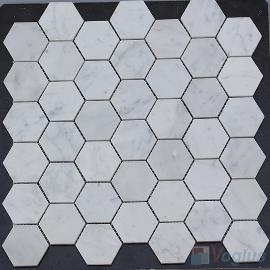 Carrara White Polished 2 inch Medium Hexagon Marble Mosaic VS-MCW95