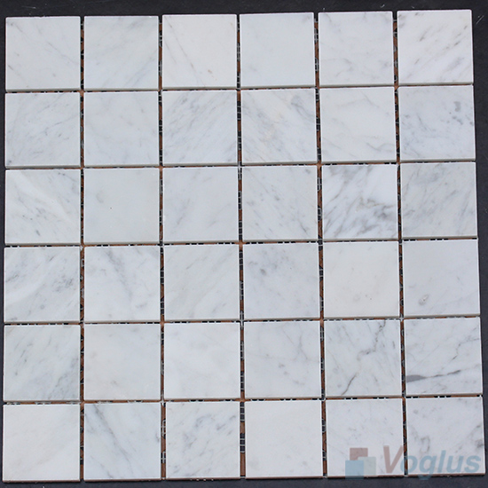 Carrara White Polished 2x2 inch Marble Mosaic VS-MCW90