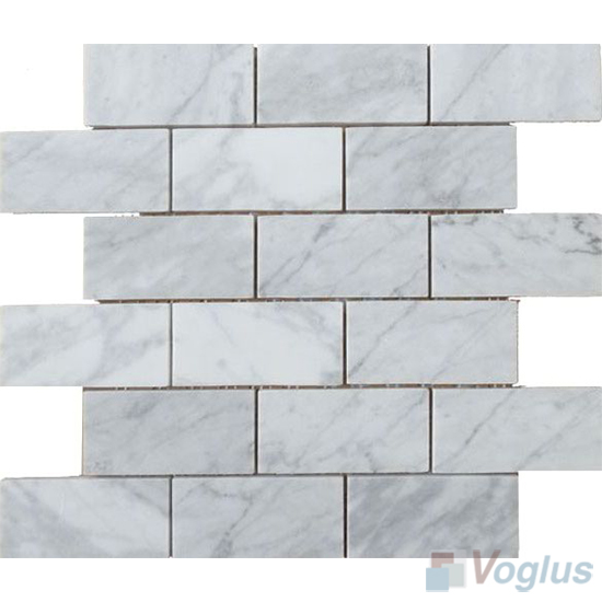 Carrara White Polished 2x4 inch Medium Brick Marble Mosaic VS-MCW92