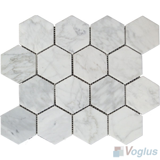 Carrara White Polished 3 inch Large Hexagon Marble Mosaic VS-MCW96