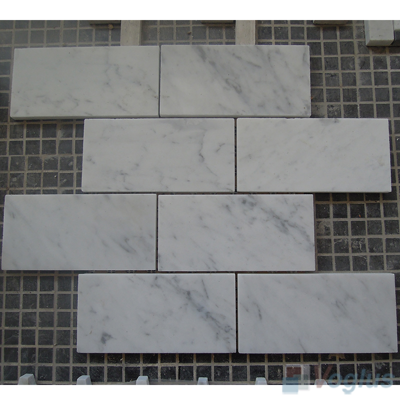 Carrara White Polished 3x6 inch Large Brick Marble Mosaic VS-MCW91
