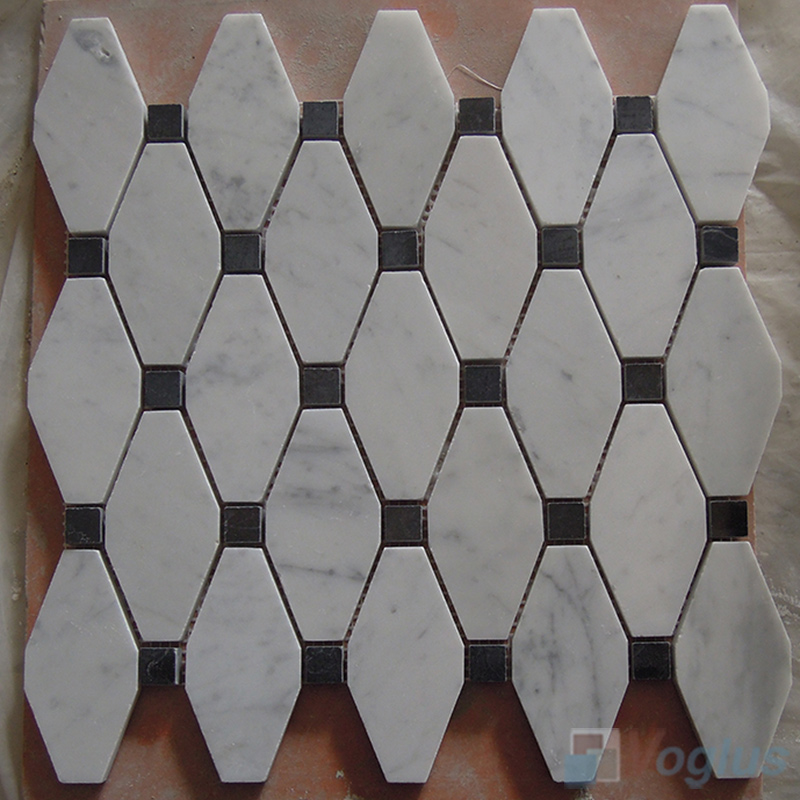 Carrara White Polished Elogated Marble Mosaic VS-MCW85